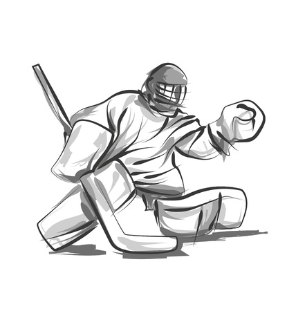 Vector line sketch hockey goalie
