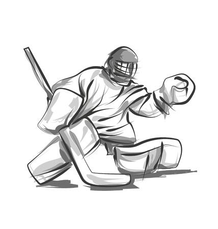 Wektor linii szkic hokej bramkarz
