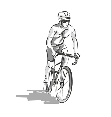 Vector line sketch cyclist