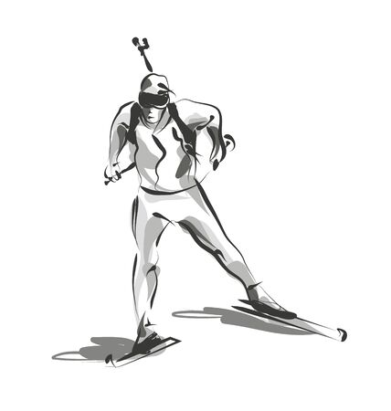 Vector line sketch biathletes Illustration