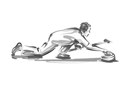 Vector lijn schets curling speler