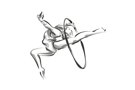 벡터 라인 스케치 체조 선수