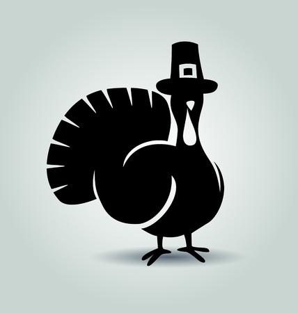 Vector silhouette of turkey. Thanksgiving day illustration Ilustracja