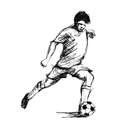 Hand schets voetbalspeler. Vector illustratie