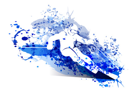 White silhouette skier on watercolor vector illustration.