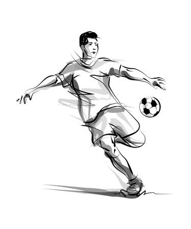 Vector line sketch footballer