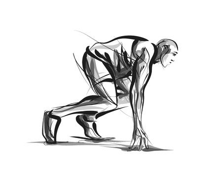 Vector lijn schets atleet op het goede spoor beginnen te lopen