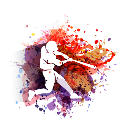 Vector white silhouette of a baseball player on colorful background Çizim