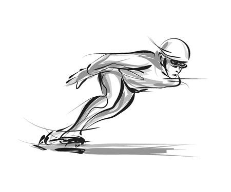 スケーター スケッチ イラスト。