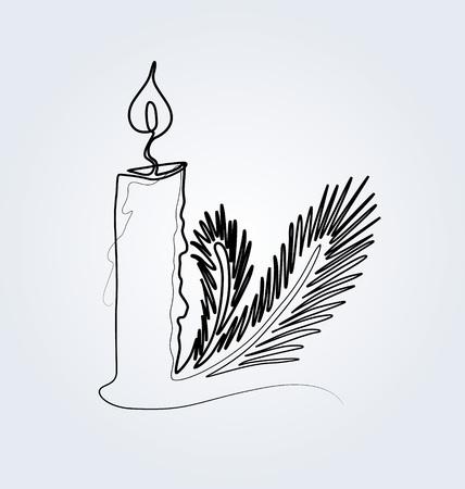 Vektor-Linie Skizze Weihnachtskerze und Nadel Standard-Bild - 90150377
