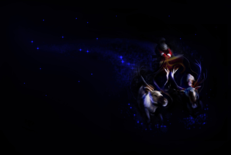 Digital painting of a flying Santa Claus on a sleigh. Christmas background.