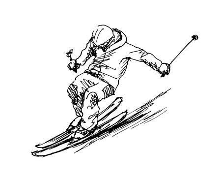 Hand sketch skier. Stock Illustratie