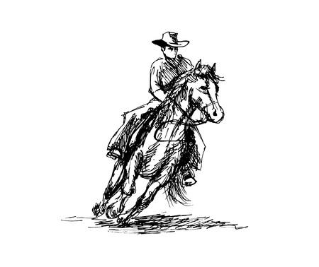 Hand Sketch a Cowboy on a Horse. Vectores