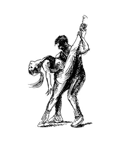 Hand Sketch Dancing Couple.