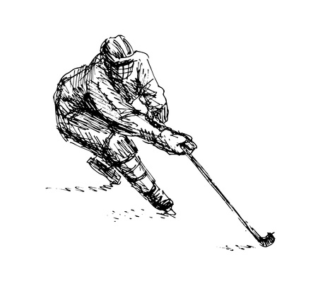 Hand Sketch Hockey Player. Illustration