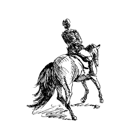 Hand sketch rider on horseback. Vector illustration Illustration