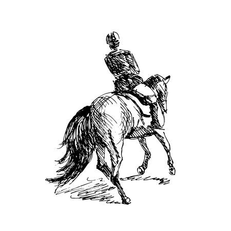 Hand sketch rider on horseback. Vector illustration Vettoriali