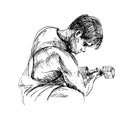 Schizzo a mano di un uomo che esercita. Illustrazione vettoriale Archivio Fotografico - 92250411