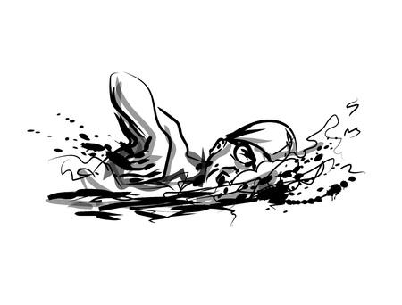 벡터 잉크 스케치 수영. 일러스트