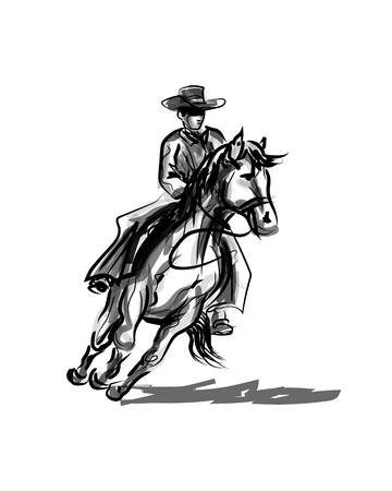 Vector Tintenskizze eines Cowboys auf einem Pferd Standard-Bild - 92466367