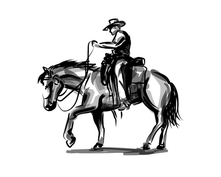 Vector ink sketch of a cowboy on a horse Çizim