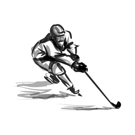 Vector ink sketch of a hockey player Vettoriali