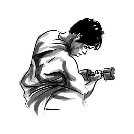 Vector ink sketch of a man exercising