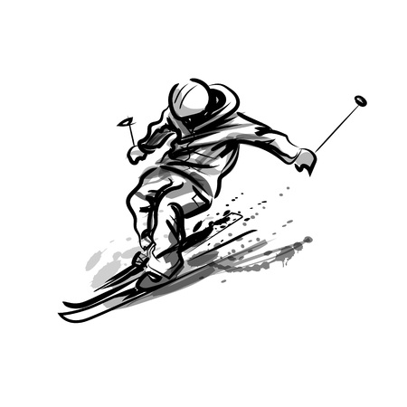 Vector ink sketch of a skier 版權商用圖片 - 92466375
