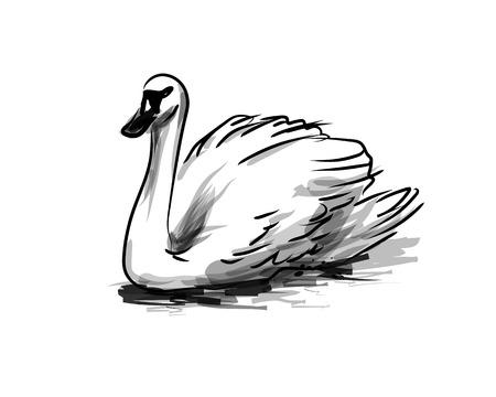 Vector ink sketch swan. Vectores