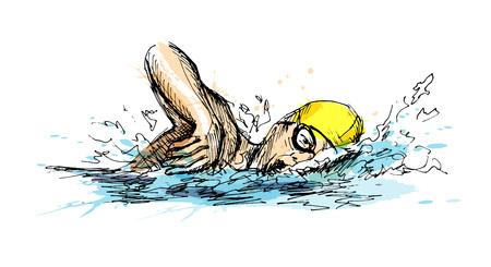 Colored hand sketch swimmer vector illustration.