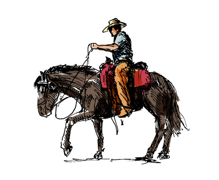 Colored hand sketch a cowboy on a horse vector illustration.