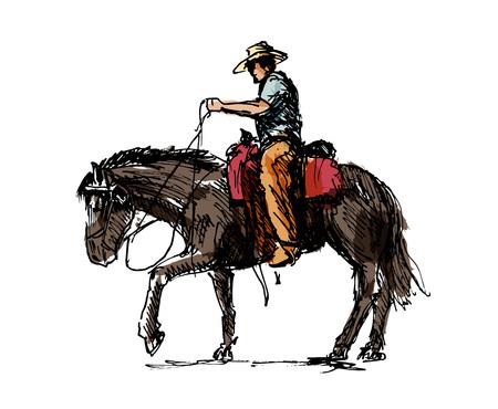 Gekleurde handschets een cowboy op een paard vectorillustratie.