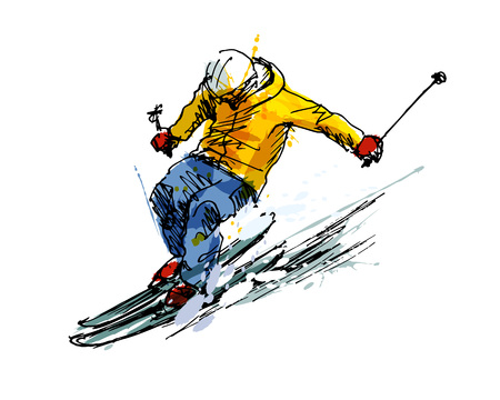 Colored hand sketch skier vector illustration. Stock Illustratie