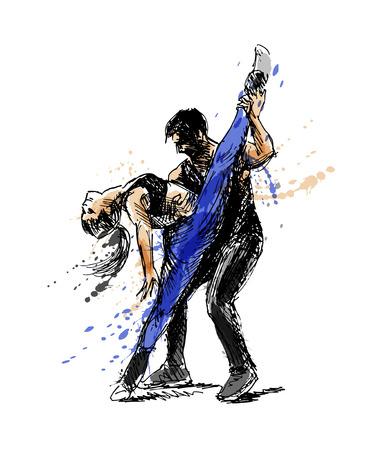 Colored hand sketch dancing couple vector illustration. Vectores