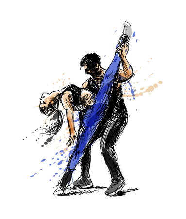 Colored hand sketch dancing couple vector illustration. Vettoriali