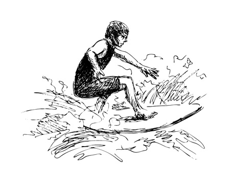 Hand sketch surfer in black and white illustration. Vectores