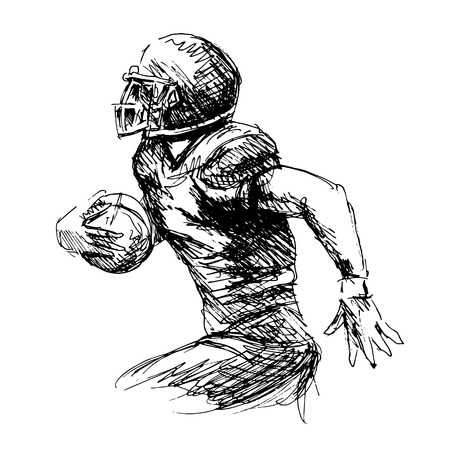 Hand sketch american football player illustration.