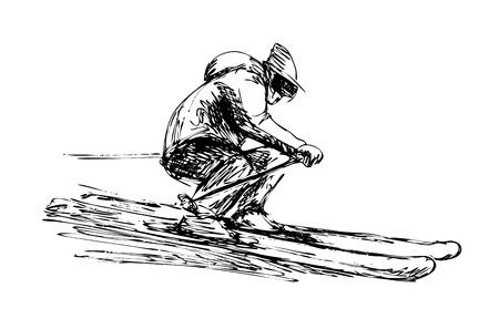 手スケッチスキーヤーベクトルイラスト。