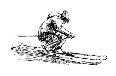 Hand sketch skier vector illustration. 일러스트