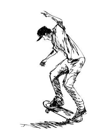 Hand sketch of a skateboarder illustration.