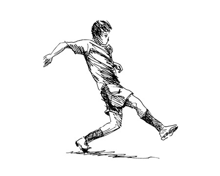 Hand sketch soccer illustration.