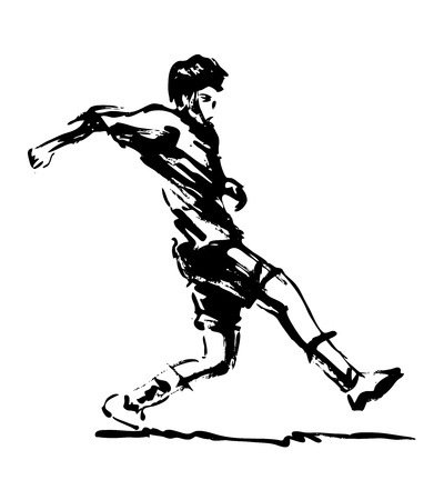 Hand brush sketch soccer player illustration.