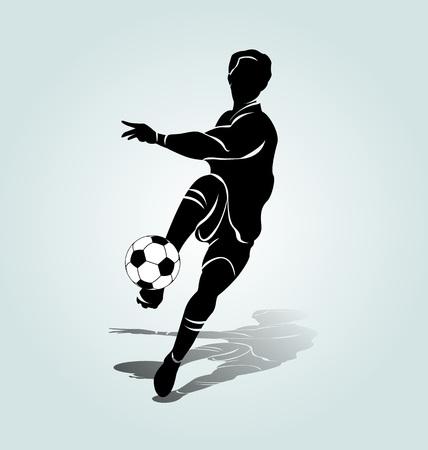 Vector silhouette soccer player Vettoriali