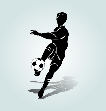 Vector silhouette soccer player Vectores