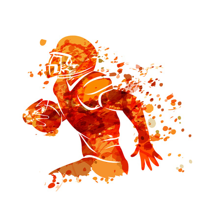 Vector watercolor silhouette american football player Фото со стока - 93191709