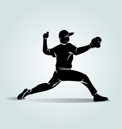 Vector silhouette baseball player