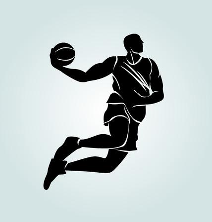 Vector silhouette basketball player