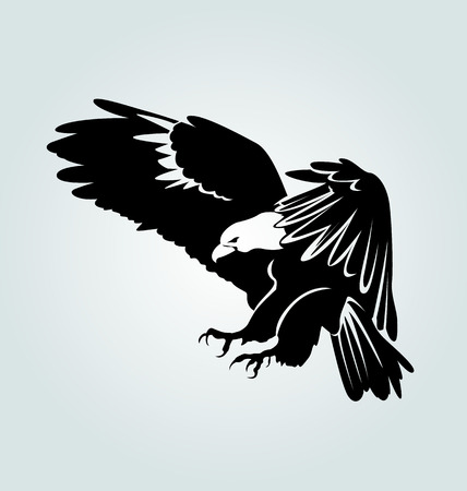 Vector silhouette of flying eagle