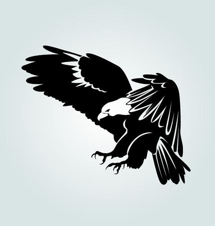 Vectorsilhouet van vliegende adelaar