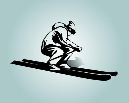 Vector silhouette of skier  Illustration
